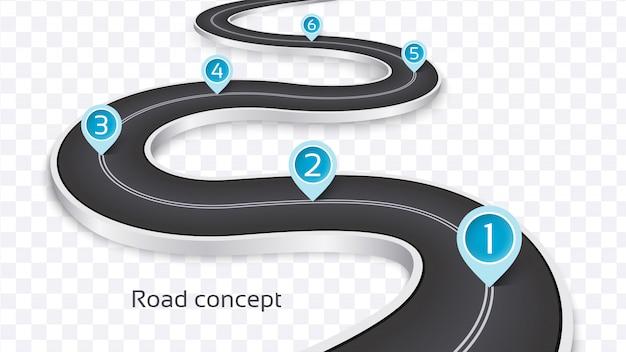 Avvolgimento del concetto infographic della strada 3d Vettore Premium