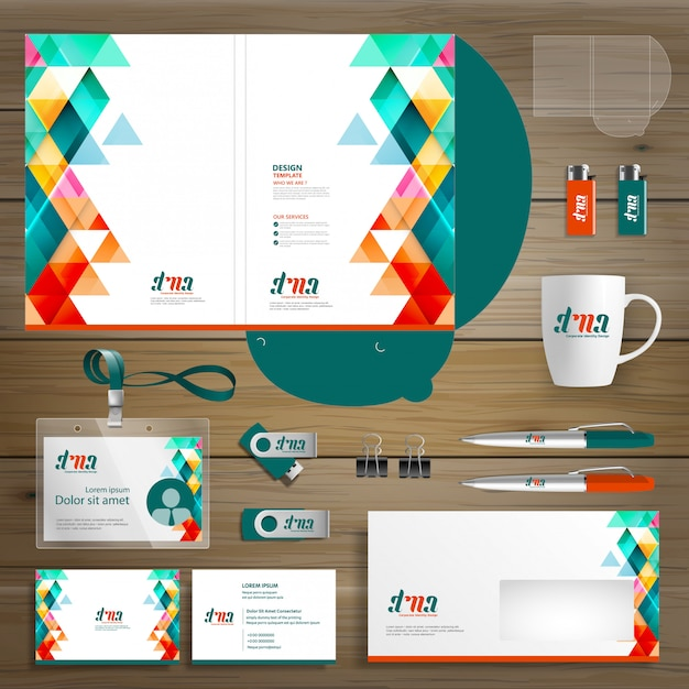 Azienda aziendale cartoleria azienda di cancelleria, presentazione Vettore Premium