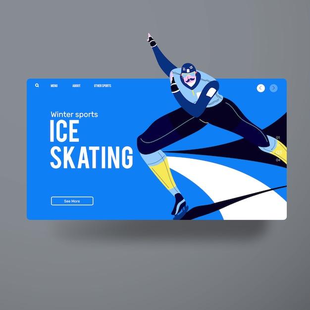 Azione pattinaggio su ghiaccio uomo Vettore Premium