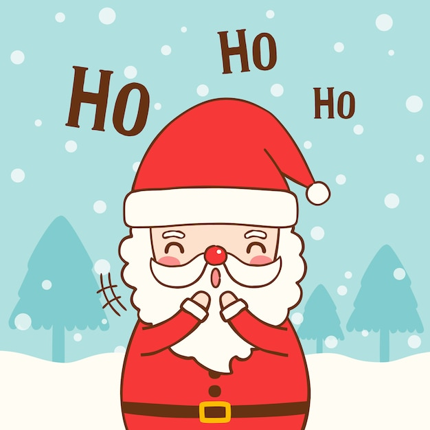 Babbo Natale Ho Ho Ho.Babbo Natale Carino Con Testo Ho Ho Ho In Stile Piatto Scaricare
