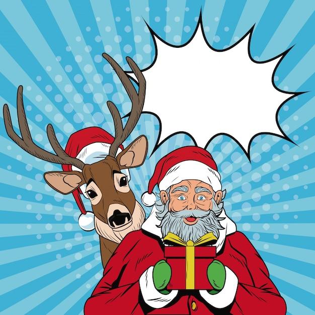 Babbo Natale Con Le Renne Immagini.Babbo Natale Con Renne Natale Pop Art Scaricare Vettori