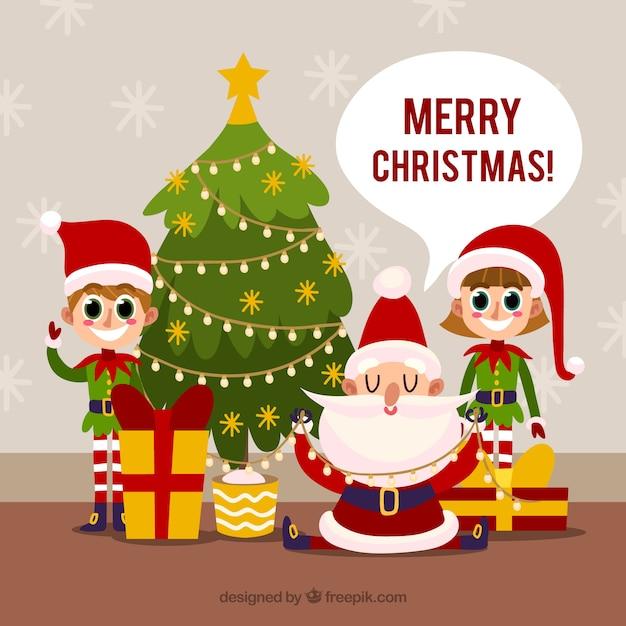 Babbo Natale E Gli Elfi.Babbo Natale E I Suoi Elfi Scaricare Vettori Gratis