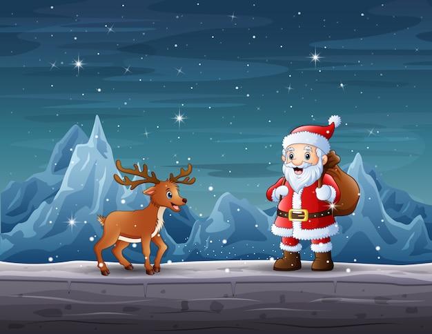 Babbo natale e renne nella notte di natale Vettore Premium