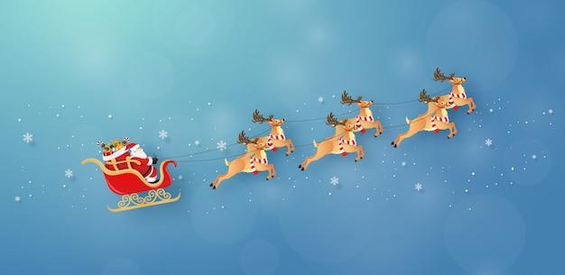 Babbo natale e renne volano sul cielo con nevoso Vettore Premium