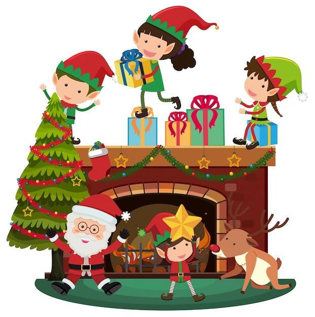 Babbo Natale E Gli Elfi.Babbo Natale Ed Elfi Nella Notte Di Natale Scaricare Vettori Premium