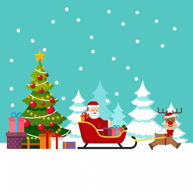 Immagini Natale Movimento.Babbo Natale In Movimento Sulla Slitta Con La Renna E Porta Molti