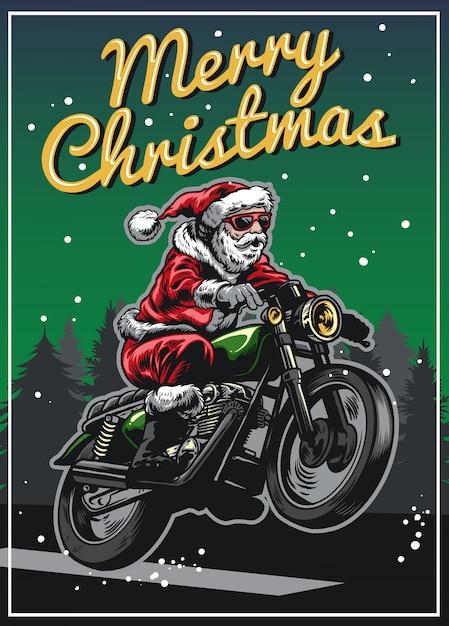 Babbo natale in sella a moto d'epoca Vettore Premium
