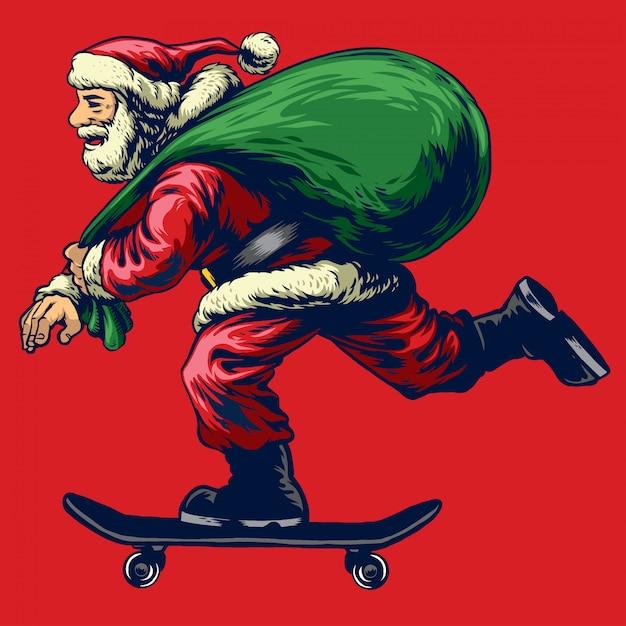 Babbo natale in sella a skateboard Vettore Premium