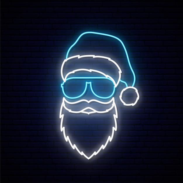 Babbo natale in un cappello blu e occhiali da sole in stile neon. Vettore Premium