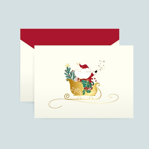 Babbo natale su un vettore di cartolina di natale Vettore gratuito