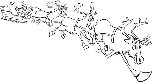 Babbo Natale Sulla Slitta Con Renne Vettore Premium