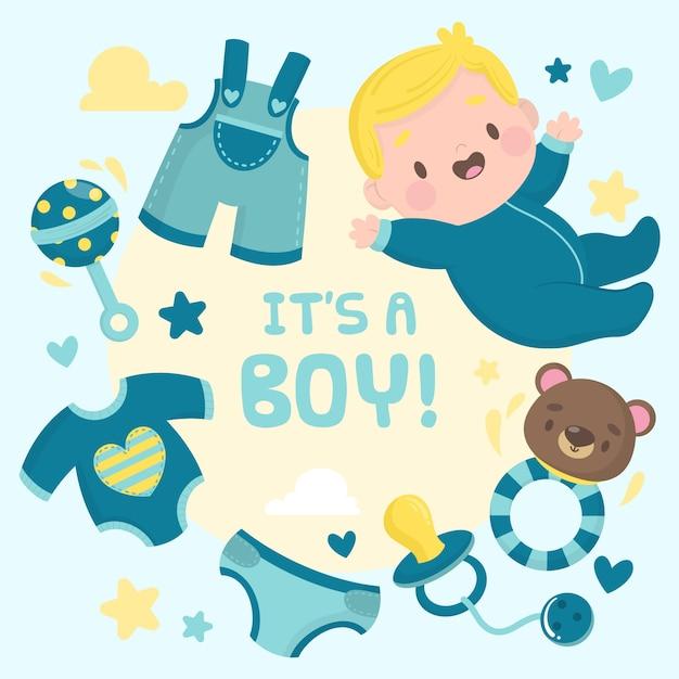 Baby boy festa in doccia Vettore gratuito