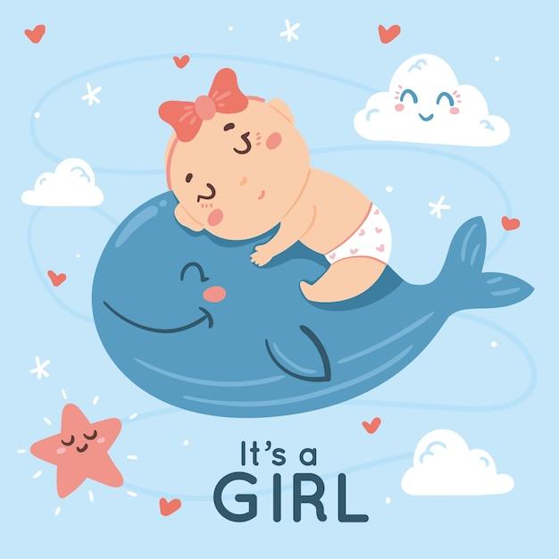 Baby doccia design per ragazza Vettore gratuito