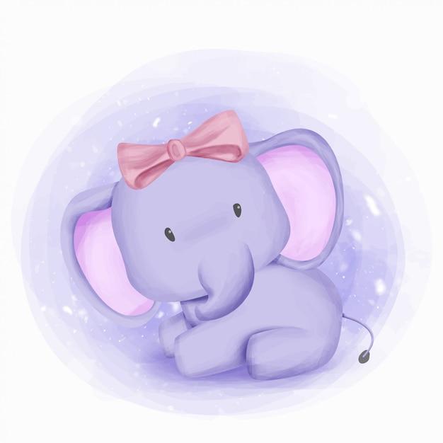 Baby elephant girl bellezza e carino Vettore Premium