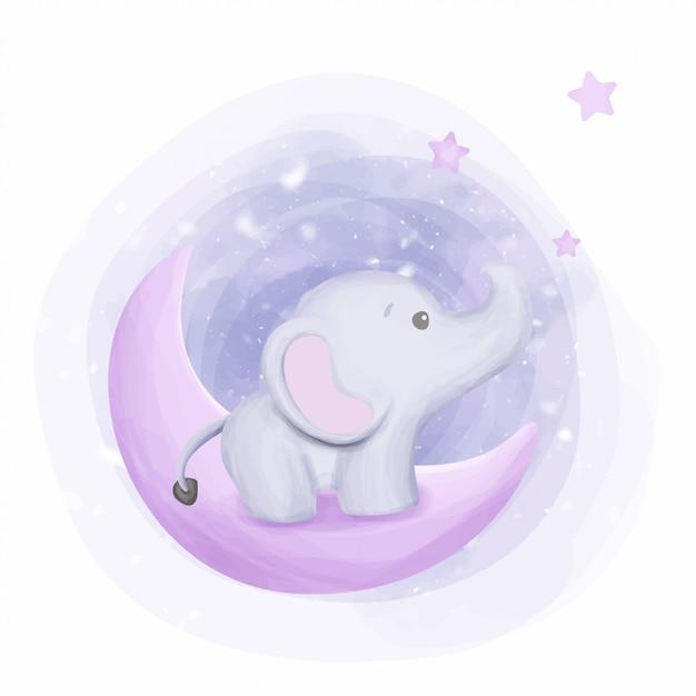 Baby elephant raggiungi le stelle Vettore Premium