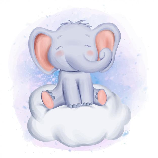 Baby elephant si siedono su cloud Vettore Premium