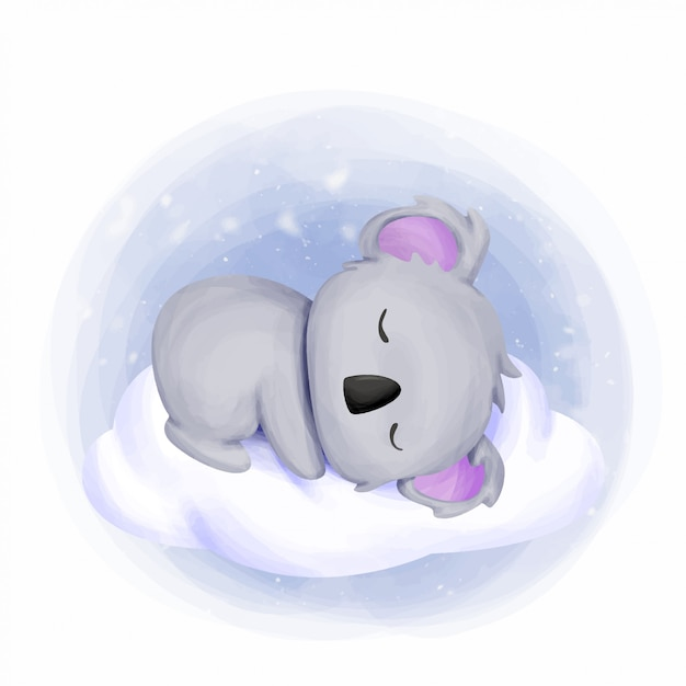 Baby koala sleep on cloud Vettore Premium
