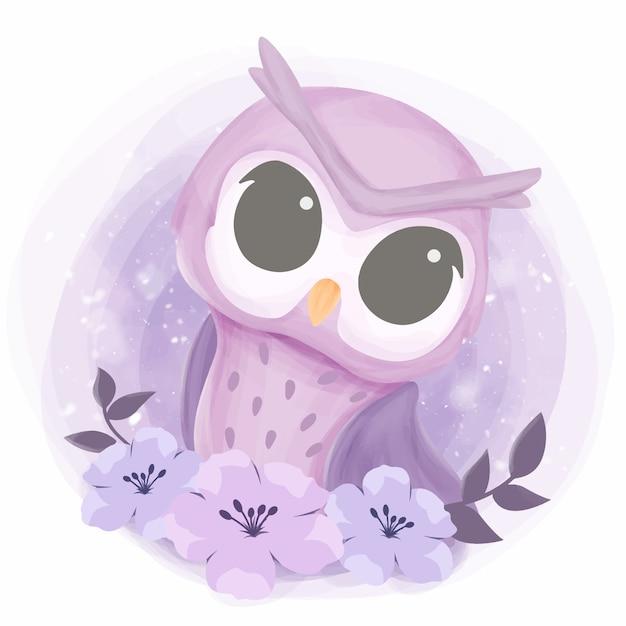 Baby pretty owl con fiori Vettore Premium