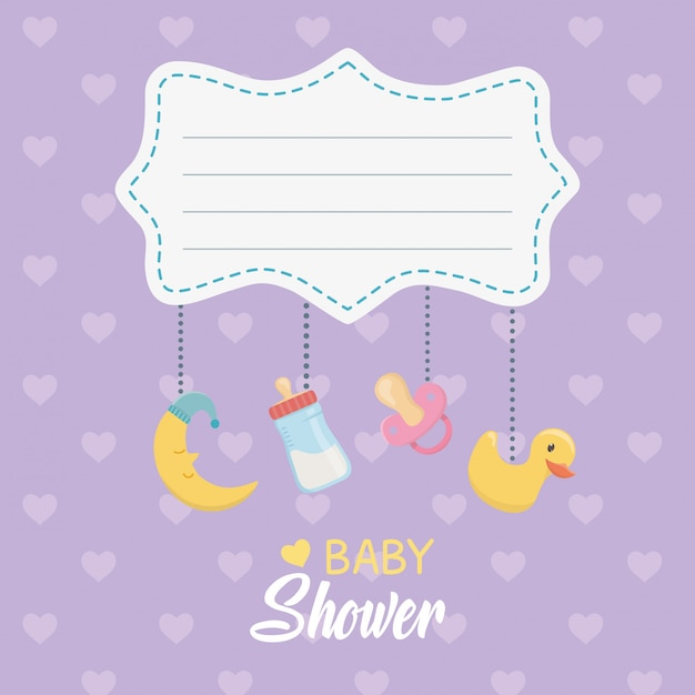 Baby shower card con accessori appesi Vettore gratuito