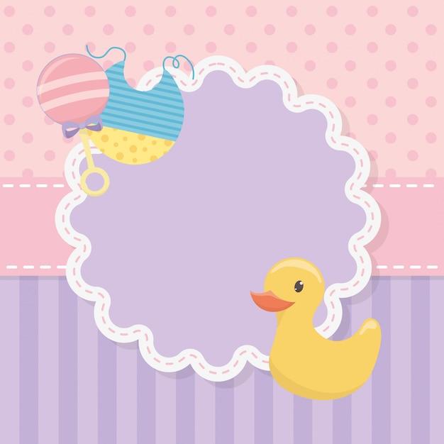 Baby shower card con anatra in gomma e accessori Vettore gratuito