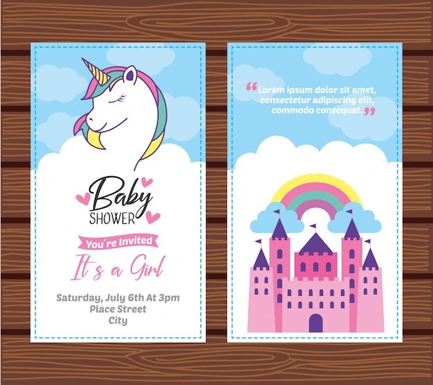 Baby shower card con unicorno Vettore Premium