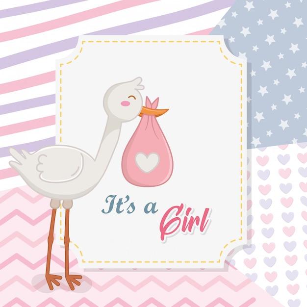 Baby shower di una ragazza Vettore Premium