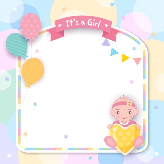 Baby shower è una ragazza con palloncini e cornice Vettore Premium