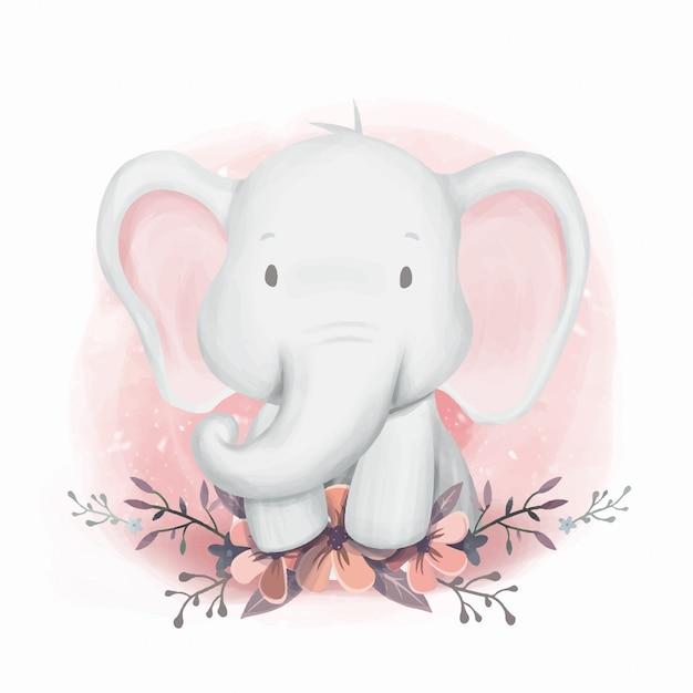Baby shower elephant gender neutral Vettore Premium