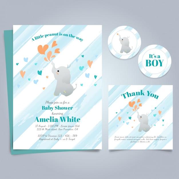Baby shower invito modello con sveglio dell'elefante Vettore gratuito