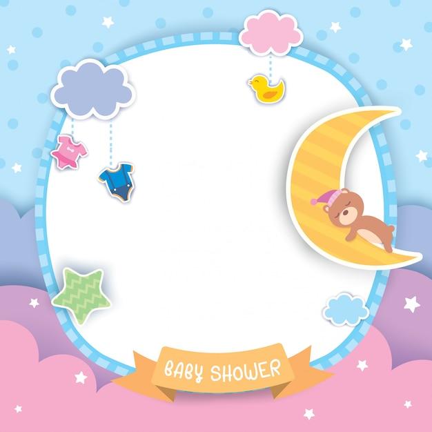 Baby-shower-pastello Vettore Premium