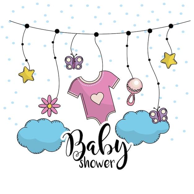 Baby shower per dare il benvenuto a un bambino in famiglia Vettore Premium