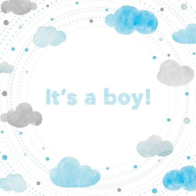 Baby shower, sfondo con acquerelli Vettore gratuito