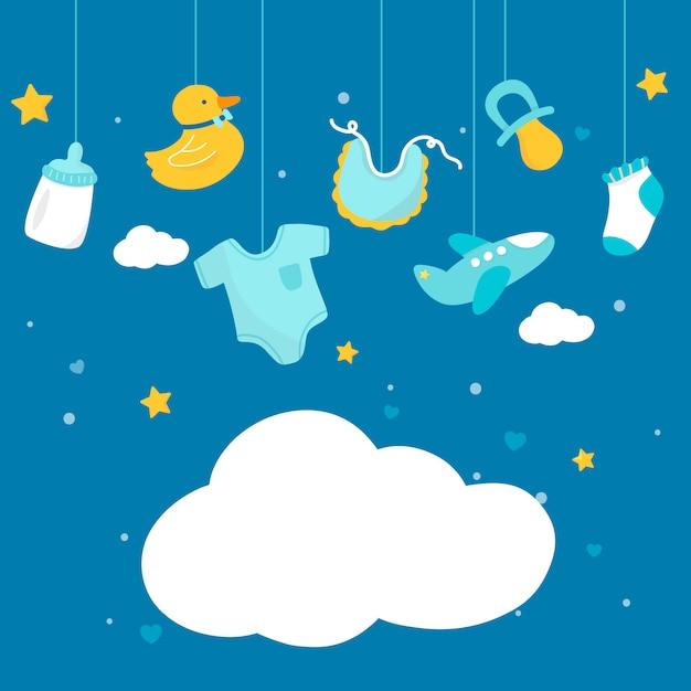 Baby shower tema copia spazio Vettore gratuito