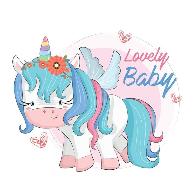Baby unicorn blue Vettore Premium