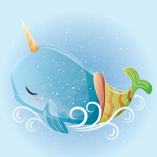 Baby whale unicorn mermaid Vettore Premium
