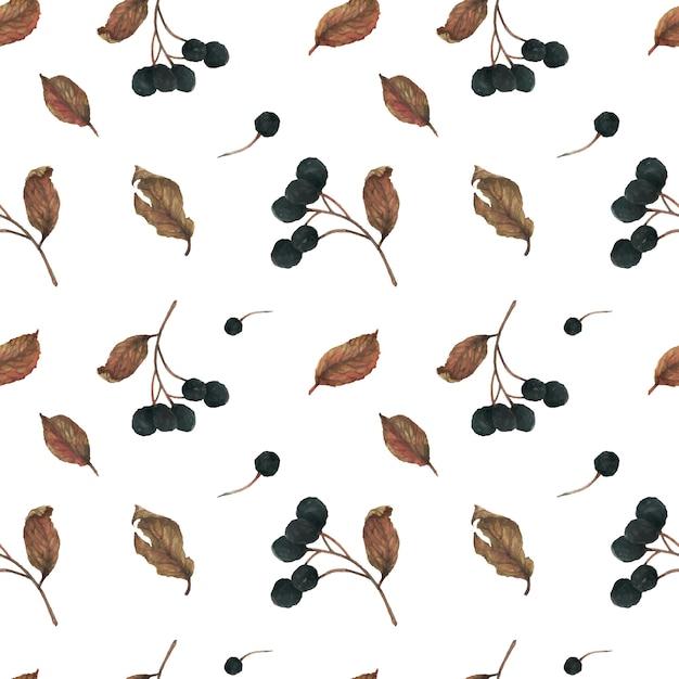 Bacche e foglie secche per il modello invernale Vettore Premium