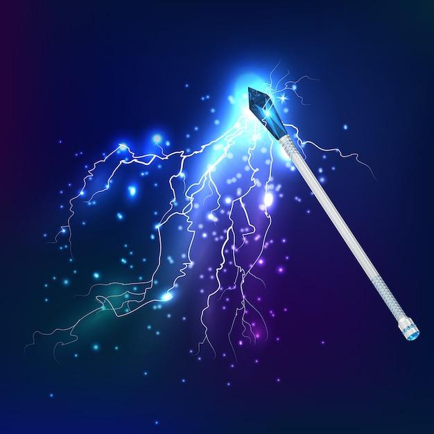 Bacchetta magica con effetto scarica elettrica Vettore gratuito