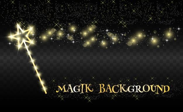 Bacchetta magica realistica con brillanti scintille su uno sfondo trasparente. Vettore Premium