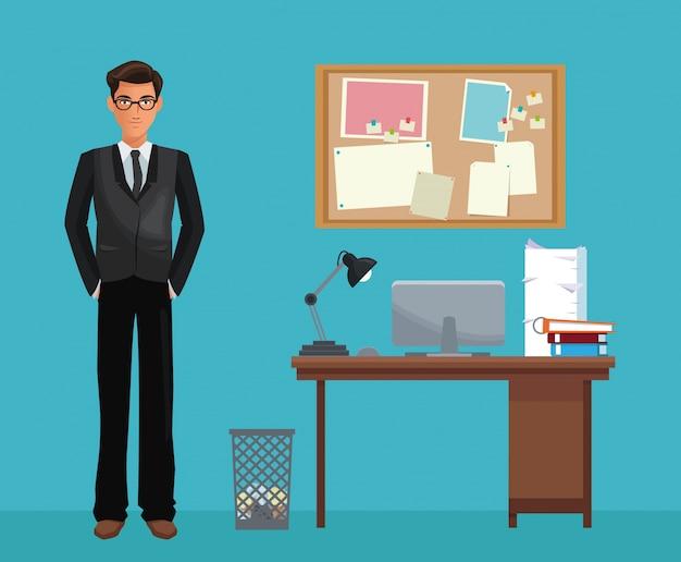Bacheca dello scrittorio dello spazio di lavoro di ufficio di vetro dell'uomo Vettore Premium