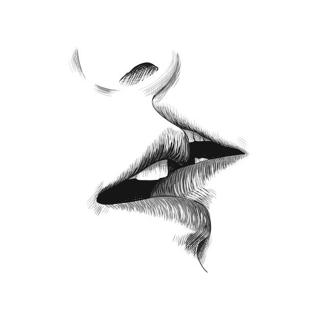 Bacio schizzo illustrazione vettoriale Vettore Premium