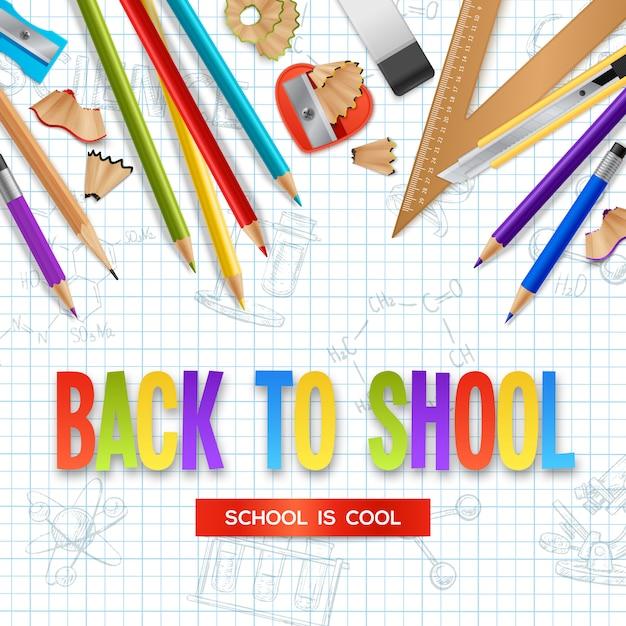 Back to school background Vettore gratuito