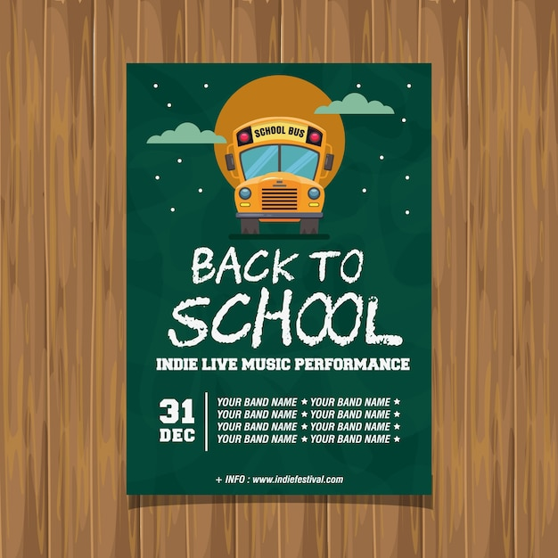 Back to school indie live music poster Vettore Premium