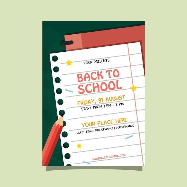 Back to school priorità bassa di carta dell'aletta di filatoio di evento Vettore Premium