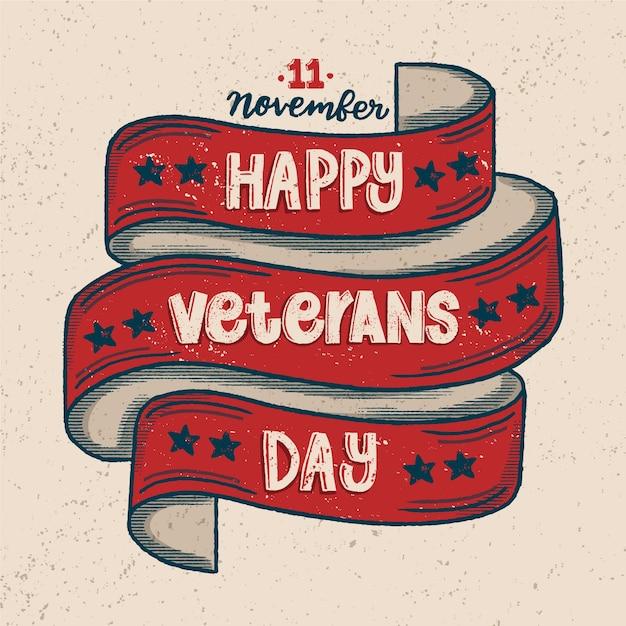 Backgound di giorno di veterani lettering vintage Vettore gratuito