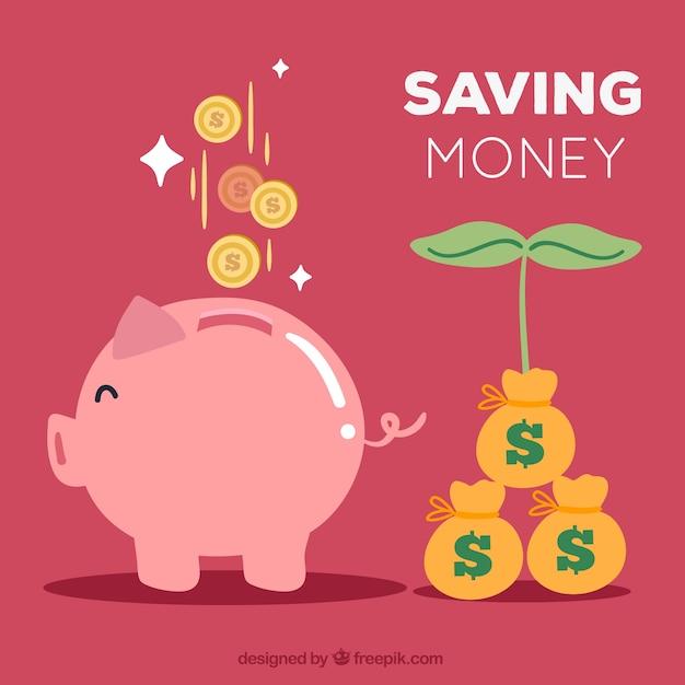 Background della banca piggy e un risparmio crescente Vettore gratuito