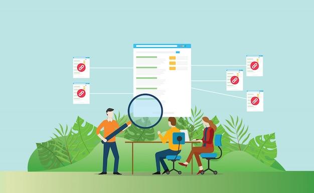 Backlink lo sviluppo del sito web seo per aumentare il traffico Vettore Premium