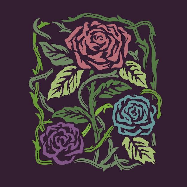 Backround dell'illustrazione del fiore delle rose di colori di stile dell'annata Vettore Premium