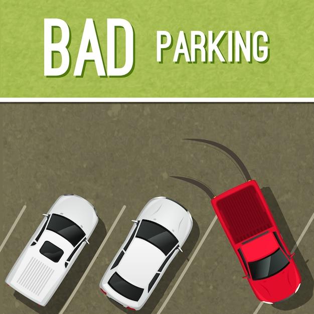Bad scena illustrazione di parcheggio Vettore Premium