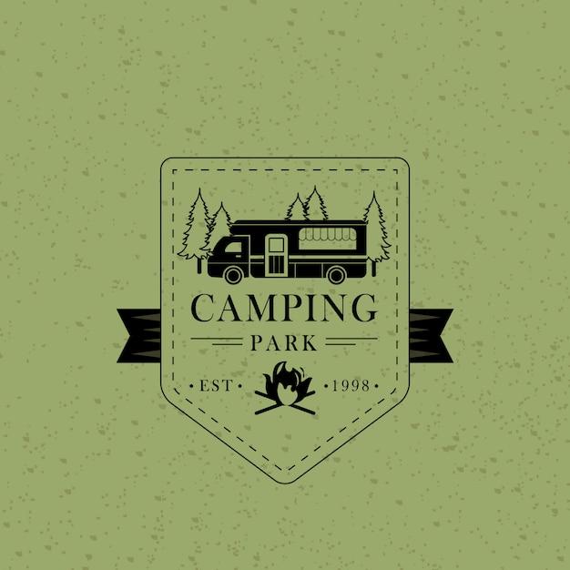 Badge da campeggio vintage Vettore Premium