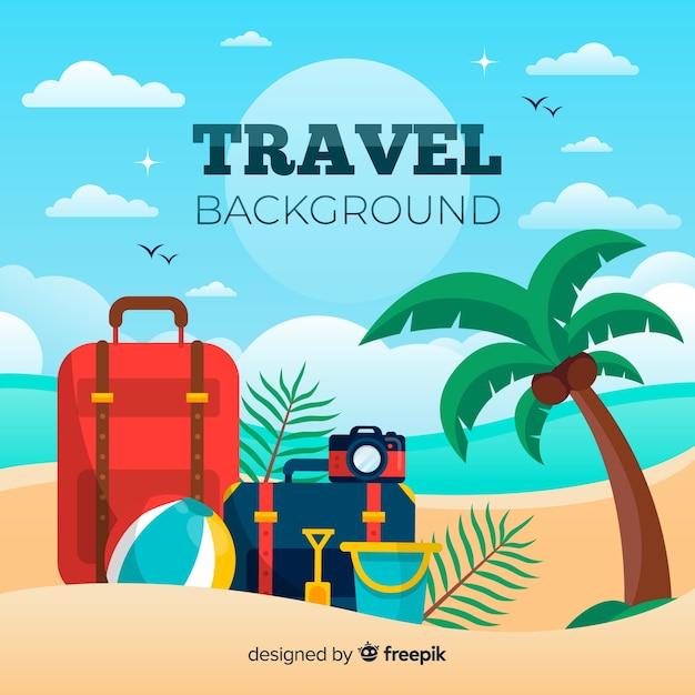 Bagagli sullo sfondo di viaggio spiaggia Vettore gratuito